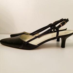 Ralph Lauren Slingback Black Leather Kitten Heel